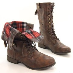 Brown Folded Combat Boots ppKqjfCa