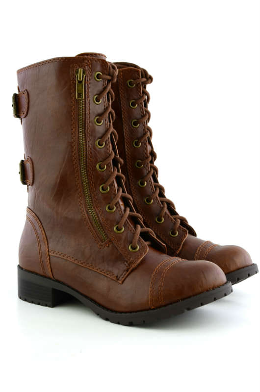 Combat Boots For Girls Brown emfeRoH4