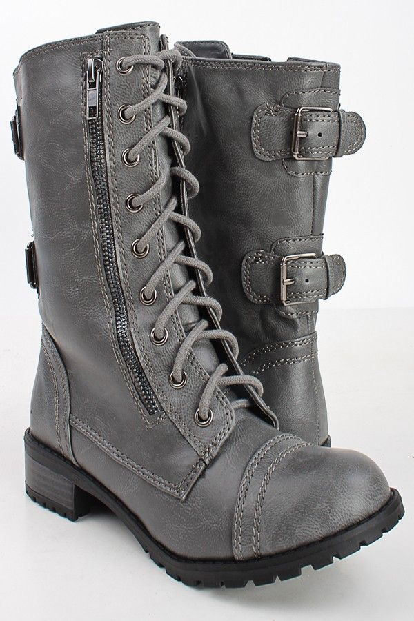 Awesome ODEON 8435 WOMEN39S GREY MILITARY LACE UP ANKLE ARMY COMBAT BOOTS NEW