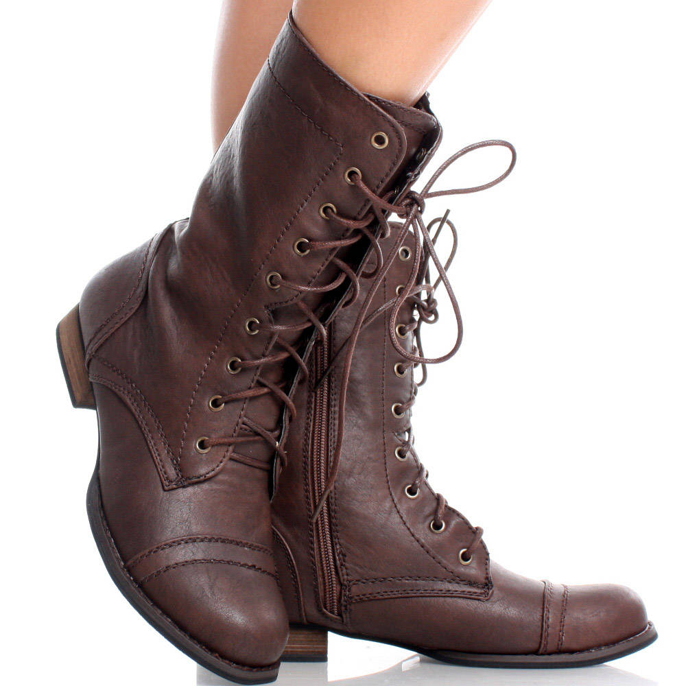 Lace Up Brown Combat Boots