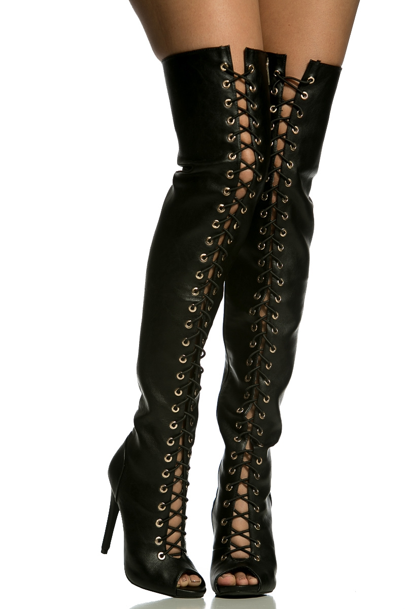 Leather Thigh High Lace Up Boots Boot Yc