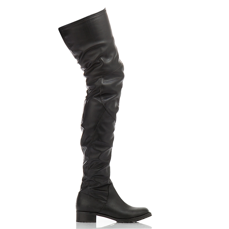 Thigh High Leather Flat Boots Sp3O2FVz