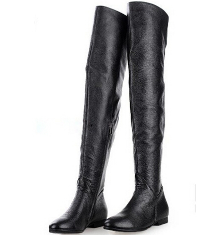 Thigh High Leather Flat Boots dYTslm7a