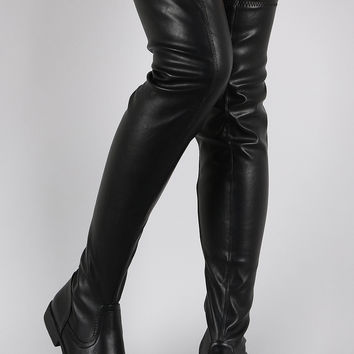 Thigh High Leather Flat Boots nBBWqYie