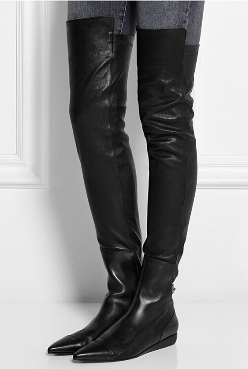 Thigh High Leather Flat Boots KvjDbOgp
