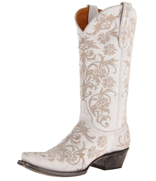 White Leather Cowgirl Boots ZamEVsau