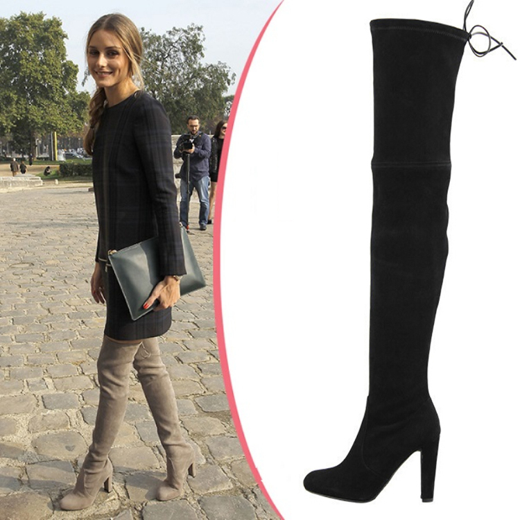 Womens Suede Thigh High Boots ZLensfte