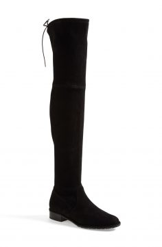 Black Flat Over The Knee Leather Boots