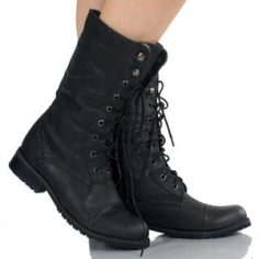 Black Lace Up Boots For Women