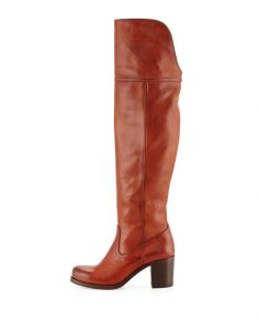 Cognac Over The Knee Leather Boots