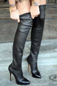Over The Knee Black Leather High Heel Boots