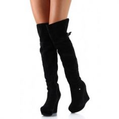 Thigh High Suede Wedge Boots